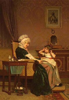 """""""The First Lesson"""" Louis-Emile Adan (1839 – 1937, French)"""