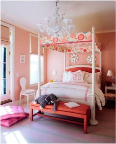Pink bedroom, canopy bed.
