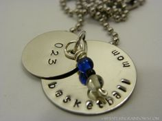 School sports metal stamped necklace  full by WhisperingMetalworks, $18.00