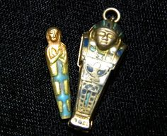 Antique Vintage Art Deco Egyptian Revival Silver Enamel Mummy Sarcophagus charm