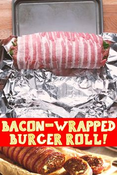 Hamburger Dishes, Hamburger Recipes, Bacon Recipes, Beef Dishes, Food Dishes, Low Carb Recipes, Cooking Recipes, Bacon Wrapped Burger, Amazing Food Videos