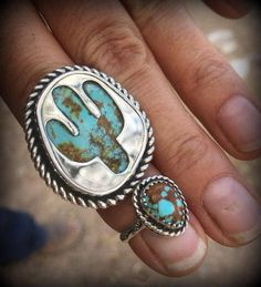 ***Reserve listing for Sarah Sawyer Nunez**** Custom made sterling silver cactus ring with southwest style stamping along the entire ring shank. This ring measures 7.5 Custom made sterling silver pinky ring size 3.5 with southwest stamping on the band. My hallmark and the word sterling stamped on the back. ***ALL SALES FINAL ON CUSTOM ORDERS*** Turquoise cabochons supplied by customer.