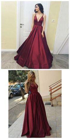 445ce8e460771 A-Line Deep V-Neck Sleeveless Floor-Length Burgundy Satin prom dress