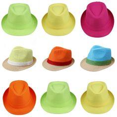 Candy Color Women Men Summer Hat Cap Fedora Trilby Straw Cotton Beach Sunhat
