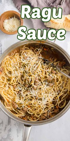 This rich and hearty ragu sauce is total comfort food! Sausage and beef are simmered together with seasoning and beef broth then tossed with hot, cooked spaghetti for an upscale version of spaghetti and meat sauce! Easy Pasta Recipes, Sauce Recipes, Beef Recipes, Slow Cooker Italian Beef, Slow Cooker Pasta, Healthy Pasta Salad, Healthy Pastas, Grilled Prime Rib, Best Pasta Dishes