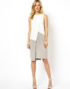 ASOS   ASOS Shift Dress With Asymmetric Colourblock at ASOS