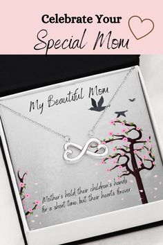Let you mom know how much you love her and appreciate all that she has done for you with this beautiful message card necklace. The message card says: mother's hold their children's hands for a short time, but their hearts forever. #momjewelry #momquotes #loveformother #mothergifts #messagecardnecklace Infinity Heart, Infinity Symbol, Gift Quotes, Mom Quotes, Mother Gifts, Gifts For Mom, Mom Jewelry, Kids Hands, Message Card