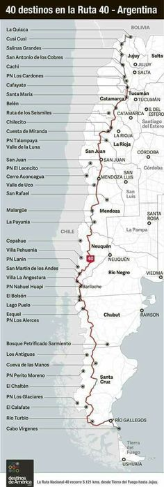 Map of the famous Ruta 40 (Route in Argentina, thousands of kilometers long. Argentina Map, Argentina Travel, Argentina Destinations, Travel Guides, Travel Tips, Places To Travel, Places To Go, Les Continents, South America Travel