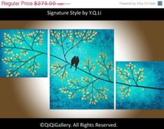 "Original Abstract Landscape Canvas Painting Palette Knife Tree Branches Birds Wall art ""Looking Up"" by QIQIGALLERY"