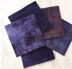 "Hand Dyed Felted Wool Fabric in Violet Shades of 5"" x 5""  Wool Charm Pack of 5 by SimplyUniqueBySheila on Etsy"