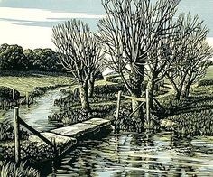 Howard Phipps, The River Ebble at Fifield Bavant - three-color linocut