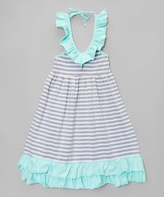 Look what I found on #zulily! Mint & Gray Stripe Maxi Dress - Toddler & Girls by Chicaboo #zulilyfinds
