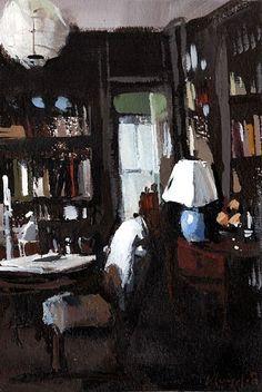 Art Print Library Books Study Interior Dark 9x12 on 11x14 - Dark Study by David Lloyd