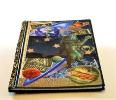 Astronomy Log - book, journal, constellations, moon and stars, planets, astrology, gift for astronomer, handmade journal, diary, Leo, rocket. $29.00, via Etsy.