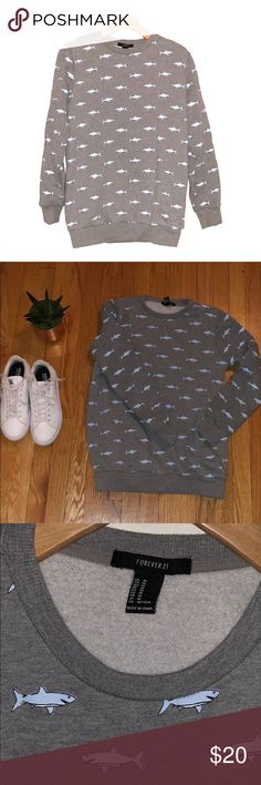 Shark print crew neck sweat shirt How much fun is this Shark print crew neck sweat shirt. So comfortable you will want to live in this sweater! Forever 21 Sweaters Crew & Scoop Necks