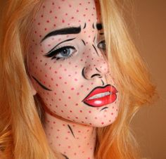 Pop Art Halloween Makeup I'm not a big Halloween person, but I thought this was really clever.
