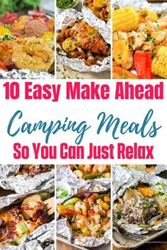 With these 10 easy make ahead camping meals, you get the best of both worlds. Easy to make (and clean up) camping food that also happens to taste great. Camping Food Make Ahead, Camping Menu, Make Ahead Meals, No Cook Meals, Easy Meals, Camping Foods, Backpacking Food, Best Camping Meals, Easy Camp Dinners