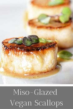 This vegan scallop recipe will have you amazed! Who knew that marrying a miso glaze to a king oyster mushroom could lead to these stunning vegan scallops! This dish is dazzling and made even better with the addition of soba noodles! Fancy Dinner Recipes, Vegetarian Recipes Dinner, Vegan Vegetarian, Seafood Recipes, Gourmet Recipes, Whole Food Recipes, Vegan Recipes, Vegetarian Starters, Vegan Starters