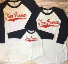 Family baseball raglan, custom names baseball family shirts, coordinating baseball party shirts, monogram baseball shirts, listing for 1