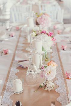 Tisch Dekoration Hochzeit Vintage Spitze Läufer Romantisch Wedding Barn Lace Table Runner