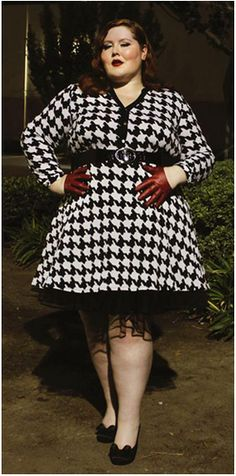 NY Collection Houndstooth Print Shirtdress