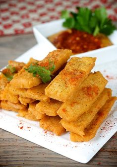 these look interesting. i'm sure they are delicious- besan(chickpea flour) fries from manifest vegan.