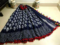 New mul cotton pom pom sarees with blouse piece