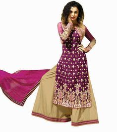 Naksh - Mesmerize the Royal Way In Wine and Cream Straight Diamond Work Georgette Palazzo Suit