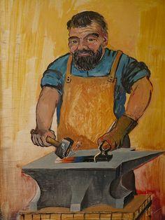 blacksmith, craft, profession, iron, forge, metal, man