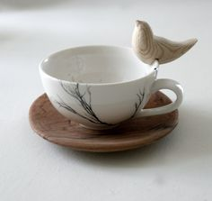 Tree cups with wooden bird sitter - Love Milo - these are a REALLY great application of the idea of painted cups, and the wooden birds are a perfect accent - #TeaCup #Crafts - pb†å