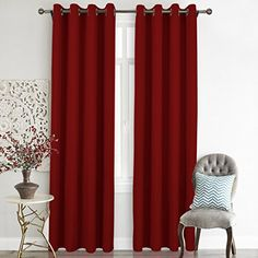 Nicetown Premium Home Decorations Thermal Insulated Solid Grommet Top Blackout Living Room Curtains / Drape for Summer (One Pair,52 x 84-Inch,Red) -- To view further, visit