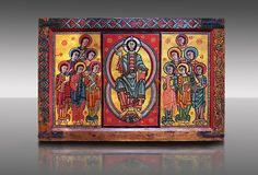 Photo of the Romanesque painted Altar panel of La Seu d'Urgell. Second quarter of the twelfth century from a church in Urgell, Catalonia.