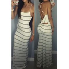 USD8.99Sexy O Neck Spaghetti Strap Sleeveless Striped Backless White Polyester Sheath Ankle Length Dress