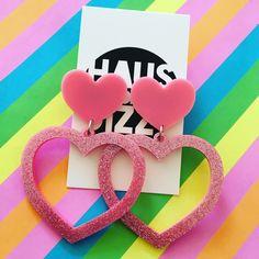 Baby pink glitter Barbie Heart Earrings by Haus of Dizzy!Acrylic laser cut earrings plastic large statement love. Made in Melbourne!