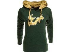 #USF green hoodie with gold hood.