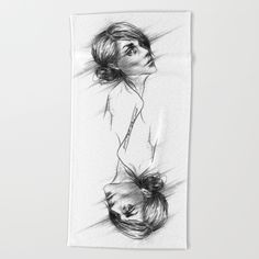 #towel #beachtowel #woman #portrait #sketch #home