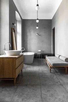Des salles de bain en béton ciré