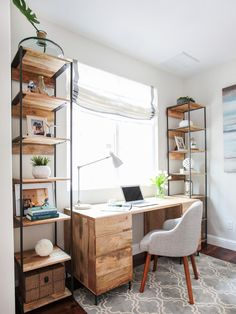 Neutral home desk placed against the window for natural light