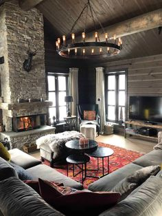 Tiny House Cabin, Cabin Homes, Cozy House, Modern Cabin Interior, Chalet Interior, A Frame Cabin, A Frame House, Cabin Fireplace, Simple Living Room Decor