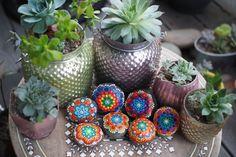 Amar azul piedra y piedra de Mandala de la flor por ArtByEvaMarie