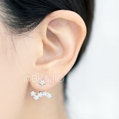Sterling Silver Five Stared Ear Jacket in Swarovski Zirconia. Wear the single delicate stud alone or pair it up with the back piece. You can also mix