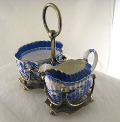 Antique Spode China Blue Willow Creamer and Sugar in Original SP Holder