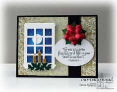 Our Daily Bread Designs Stamp set: Everlasting Light, Our Daily Bread Designs Paper Collection:Christmas Card 2015, Our Daily Bread Designs Custom Dies: Peaceful Poinsettias, Stitched Ovals, Windowsill Candles, Welcoming Window