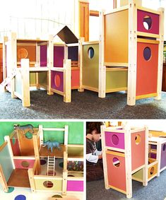 Modern gender neutral boys and girls dollhouse playhouse. For animals, dolls, cars, whatever! from MODplayhouse on #etsy