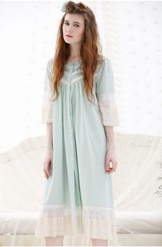 Pink Blue Green Vintage Cotton Shirt Nightdress 5c313f035