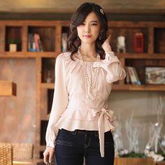 Hot sell ladies fashion shirt Women's blouse ladies slim long sleeve blouse Of Office Ladies shirt Pleated Bodice, Chiffon Shirt, Look Chic, Shirt Blouses, Shirts, Blouses For Women, Korean Fashion, Ideias Fashion, Casual