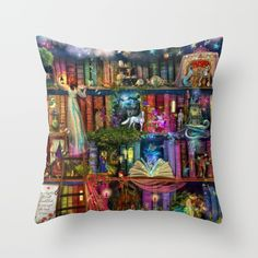 Home Decor Gifts, Whimsy Trove - Treasure Hunt Surreal Art on Throw Pillows & Decorative Patio Pillows by Aimee Stewart & printed by Patio Pillows, Throw Pillows Bed, Outdoor Throw Pillows, Designer Throw Pillows, Down Pillows, Decorative Throw Pillows, Tea And Books, Fluffy Pillows, Surreal Art