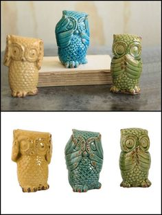 Hear No, See No, Speak No Evil #Owls - I have these & #love them! Let me tell you they are even #cuter in person!