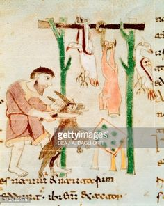 Stock Illustration : A butcher's shop, miniature from De universo by Rabano Mauro, manuscript, Italy 11th Century.