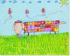 JennyLU's Giclee 11x14 Art Print 'Rosy the Dachshund' by JennyLU, $40.00